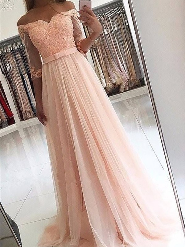 A-Line/Princess Sash/Ribbon/Belt Off-the-Shoulder 3/4 Sleeves Sweep/Brush Train Tulle Dresses