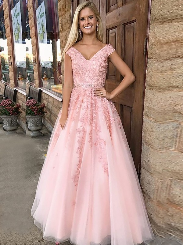 A-Line/Princess Applique V-neck Sleeveless Floor-Length Tulle Dresses