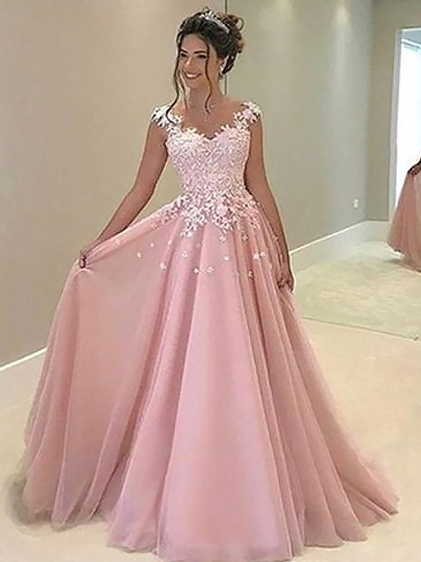 A-Line/Princess Applique Sweetheart Sleeveless Floor-Length Tulle Dresses