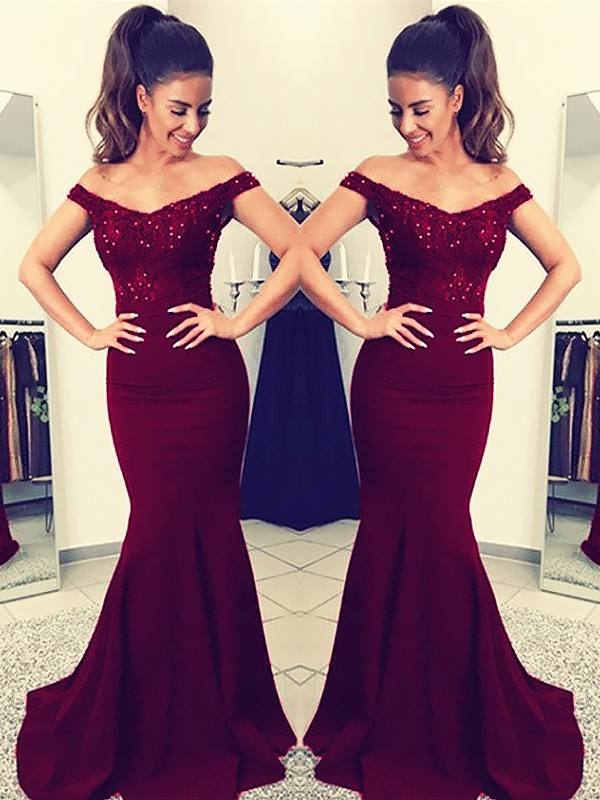 Trumpet/Mermaid Lace Off-the-Shoulder Sleeveless Sweep/Brush Train Satin Dresses