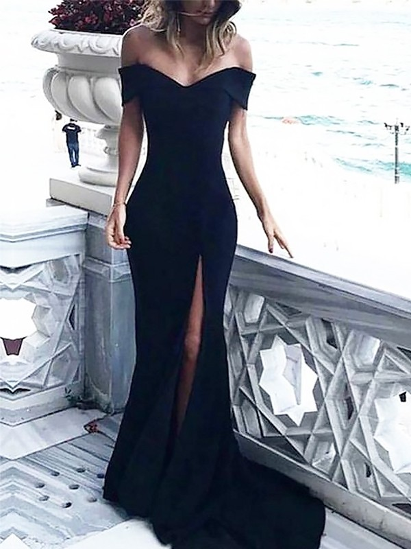 Sheath/Column Ruched Off-the-Shoulder Sleeveless Court Train Spandex Dresses