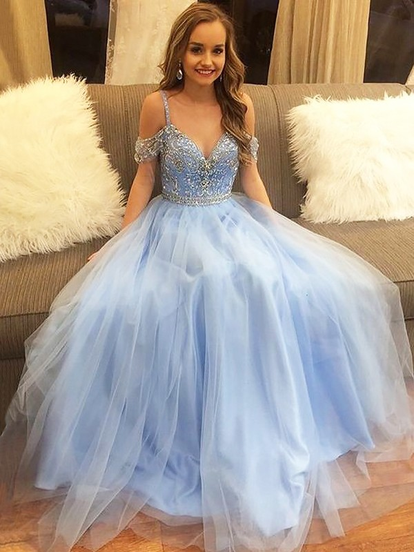 A-Line/Princess Beading Off-the-Shoulder Sleeveless Floor-Length Tulle Dresses