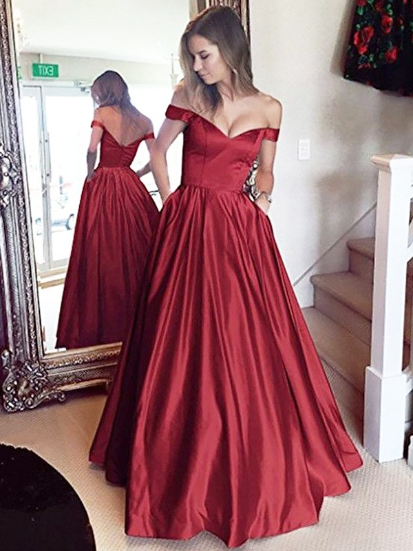 A-Line/Princess Beading Off-the-Shoulder Sleeveless Floor-Length Satin Dresses