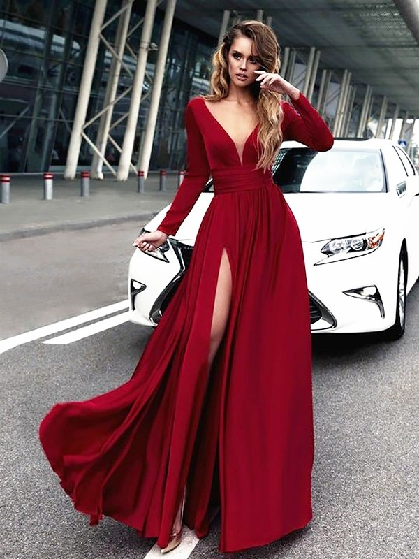 A-Line/Princess Ruffles V-neck Long Sleeves Floor-Length Satin Dresses