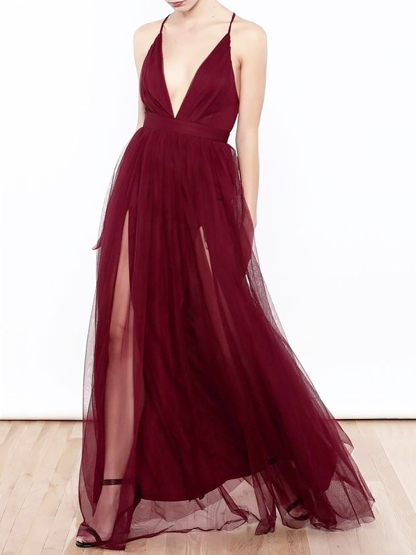 A-Line/Princess Ruffles V-neck Sleeveless Floor-Length Tulle Dresses