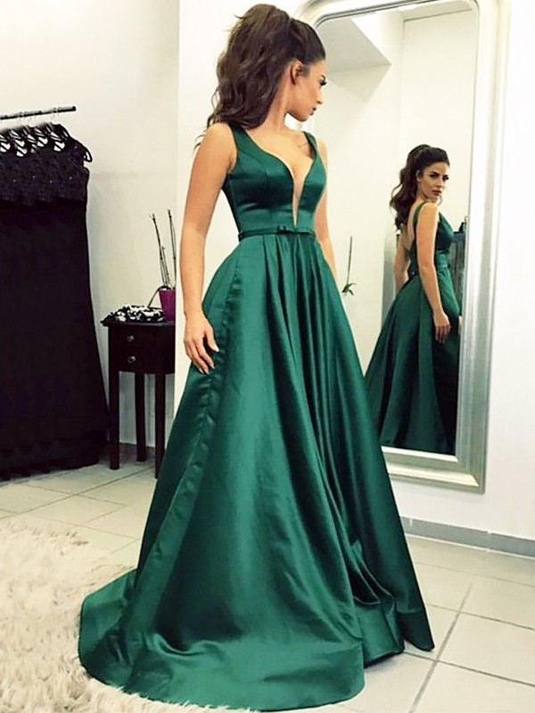 A-Line/Princess Ruffles V-neck Sleeveless Sweep/Brush Train Satin Dresses