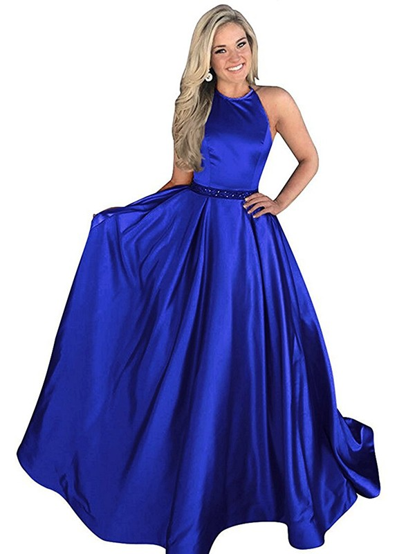 A-Line/Princess Beading Halter Sleeveless Sweep/Brush Train Satin Dresses