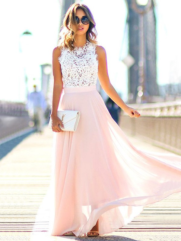 A-Line/Princess Lace Jewel Sleeveless Floor-Length Chiffon Dresses