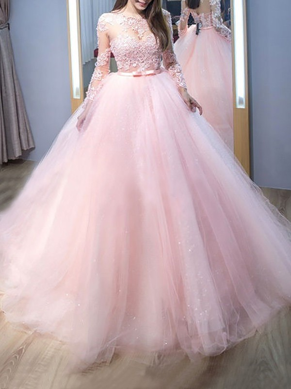 Ball Gown Lace Jewel Long Sleeves Sweep/Brush Train Tulle Dresses