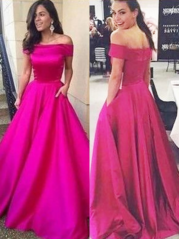 A-Line/Princess Ruffles Off-the-Shoulder Sleeveless Sweep/Brush Train Satin Dresses