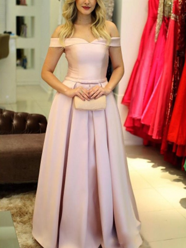 A-Line/Princess Ruffles Off-the-Shoulder Sleeveless Floor-Length Satin Dresses