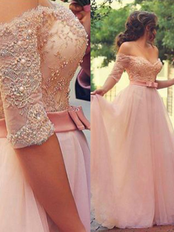A-Line/Princess Lace Off-the-Shoulder 1/2 Sleeves Floor-Length Tulle Dresses