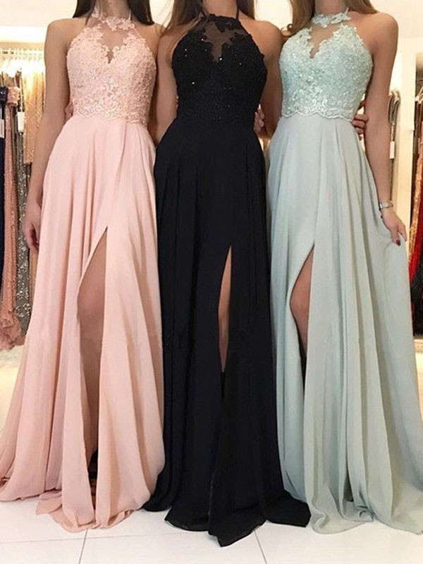 A-Line/Princess Applique Halter Sleeveless Sweep/Brush Train Chiffon Dresses