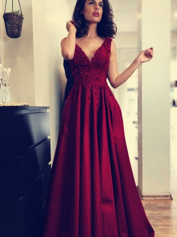 A-Line/Princess Applique V-neck Sleeveless Sweep/Brush Train Satin Dresses