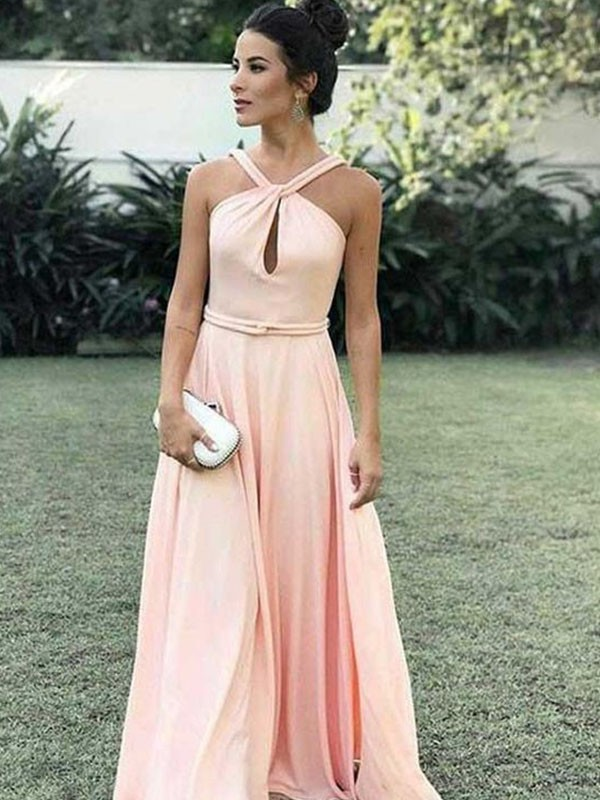A-Line/Princess Ruffles Halter Sleeveless Floor-Length Chiffon Dresses