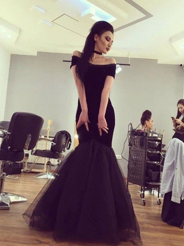 Trumpet/Mermaid Ruffles Off-the-Shoulder Short Sleeves Floor-Length Tulle Dresses