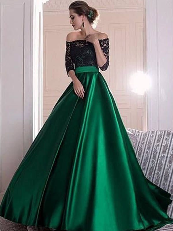 A-Line/Princess Ruffles Off-the-Shoulder 3/4 Sleeves Sweep/Brush Train Satin Dresses
