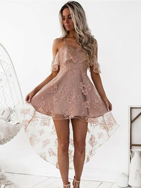 A-Line/Princess Lace Off-the-Shoulder Sleeveless Short/Mini Satin Dresses
