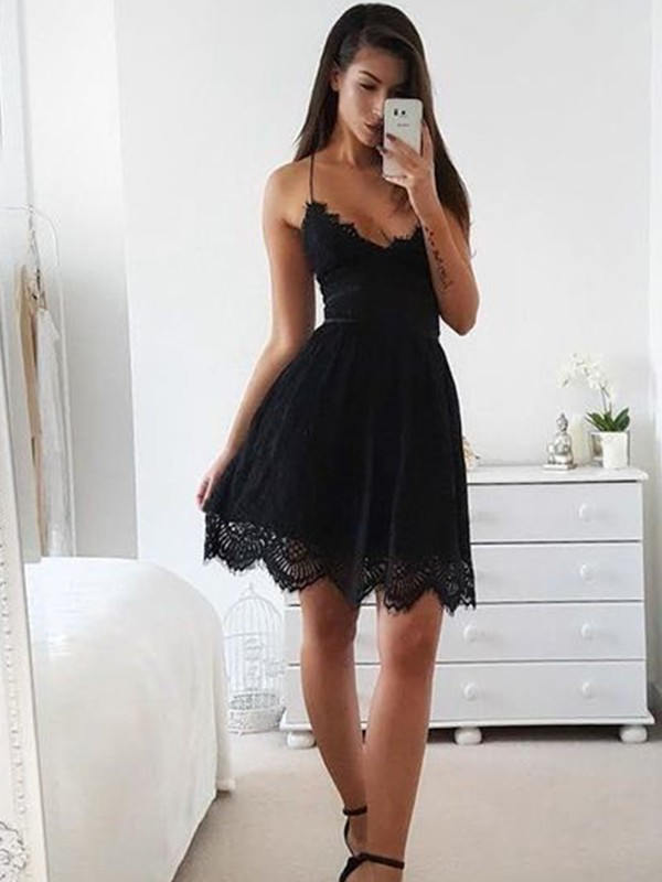 A-Line/Princess Lace Spaghetti Straps Sleeveless Short/Mini Lace Dresses