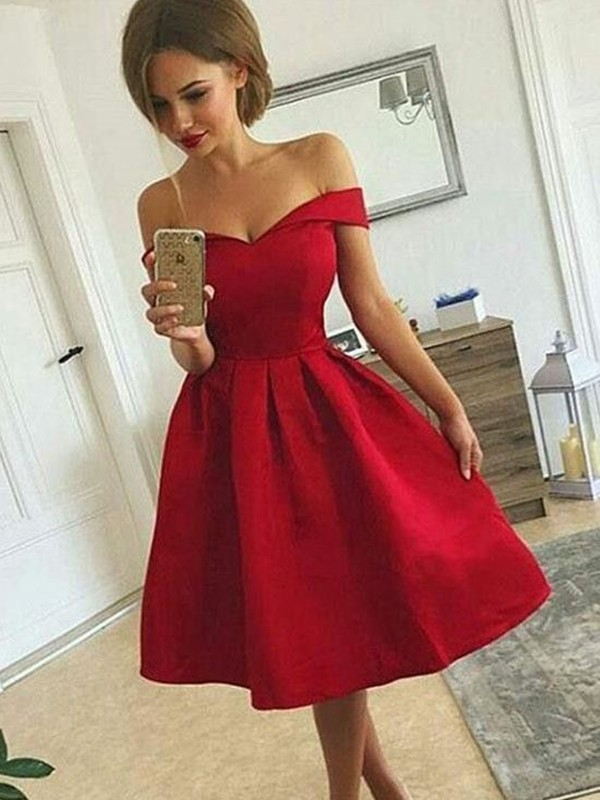 A-Line/Princess Ruched Off-the-Shoulder Sleeveless Short/Mini Satin Dresses