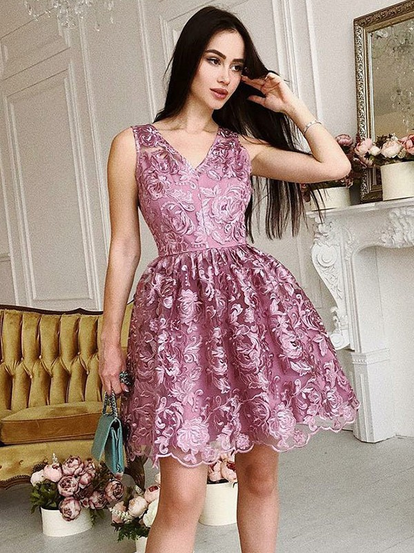A-Line/Princess Ruched V-neck Sleeveless Short/Mini Organza Dresses