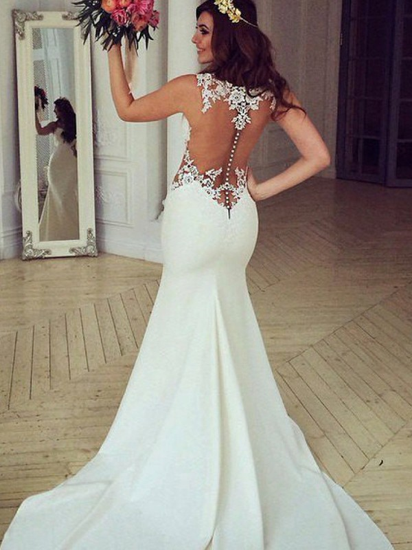 Trumpet/Mermaid Applique Scoop Sleeveless Sweep/Brush Train Lace Wedding Dresses