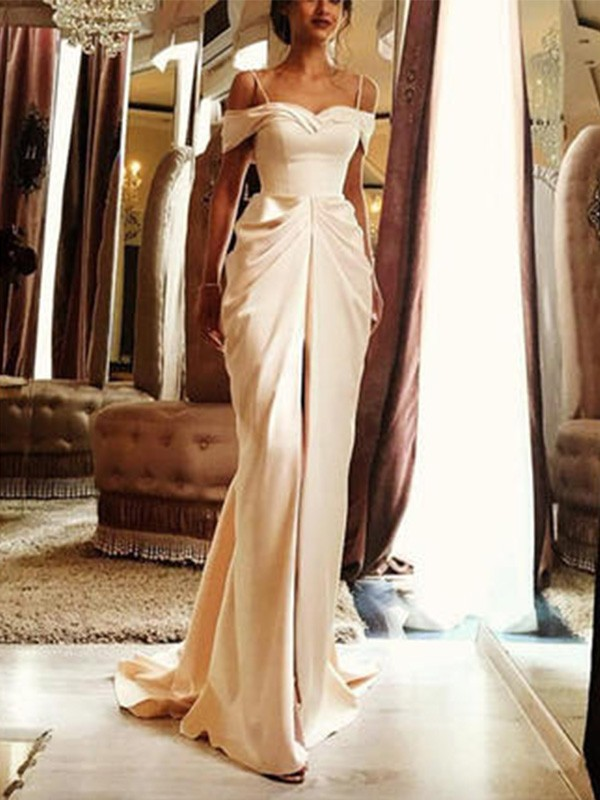 Sheath/Column Ruffles Off-the-Shoulder Short Sleeves Sweep/Brush Train Silk like Satin Wedding Dresses
