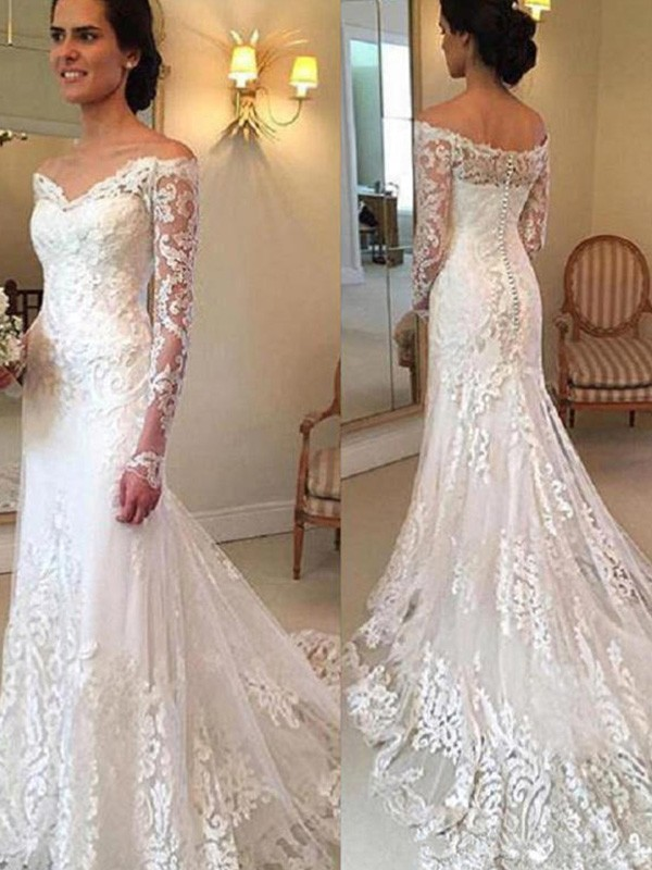 Trumpet/Mermaid Applique Off-the-Shoulder Long Sleeves Court Train Lace Wedding Dresses