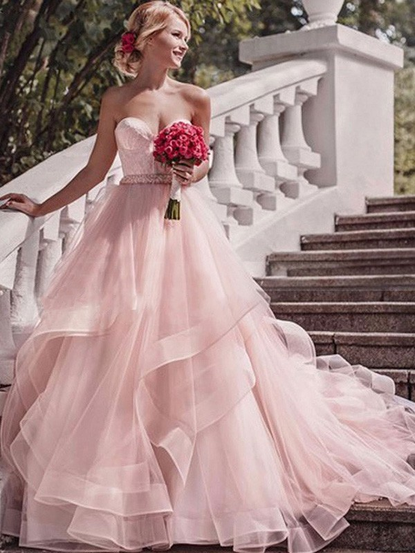 Ball Gown Layers Sweetheart Sleeveless Court Train Organza Wedding Dresses