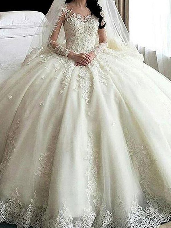 Ball Gown Applique Scoop Long Sleeves Cathedral Train Tulle Wedding Dresses