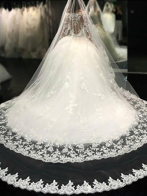 Ball Gown Lace Scoop Long Sleeves Cathedral Train Tulle Wedding Dresses