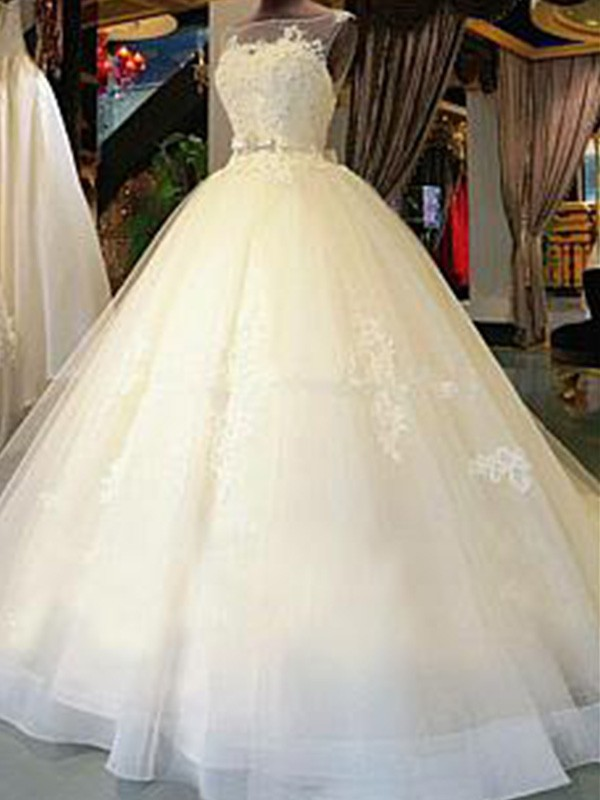 Ball Gown Applique Scoop Sleeveless Cathedral Train Tulle Wedding Dresses