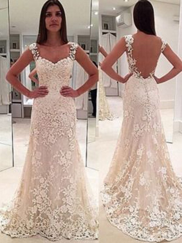 Sheath/Column Applique Sweetheart Sleeveless Court Train Lace Wedding Dresses