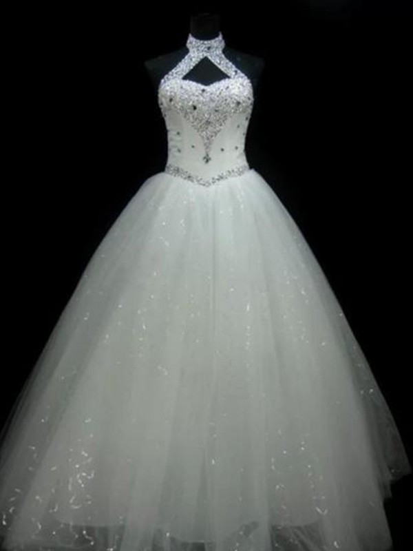 Ball Gown Beading Halter Sleeveless Floor-Length Tulle Wedding Dresses
