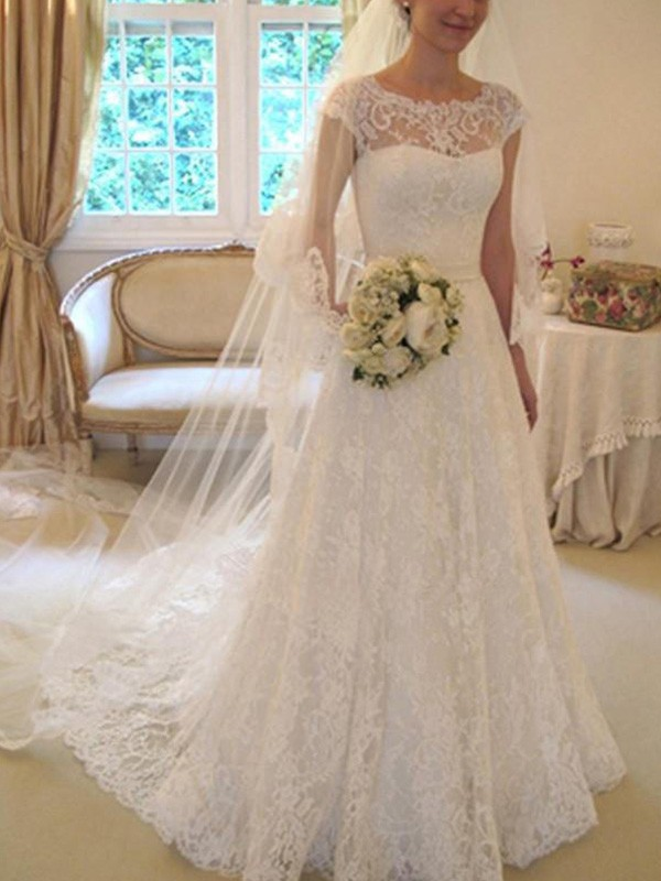 A-Line/Princess Applique Square Short Sleeves Court Train Lace Wedding Dresses
