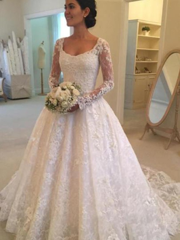 Ball Gown Ruffles Scoop Long Sleeves Cathedral Train Lace Wedding Dresses