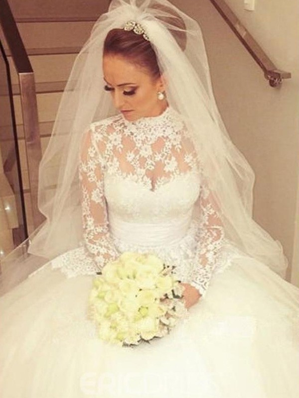 Ball Gown High Neck Long Sleeves Sweep/Brush Train Lace Wedding Dresses