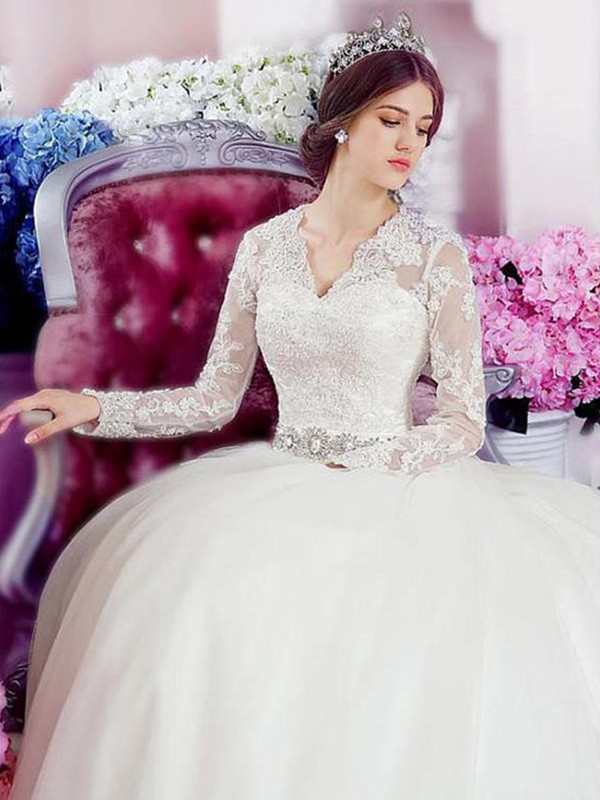 A-Line/Princess Applique V-neck Long Sleeves Cathedral Train Tulle Wedding Dresses