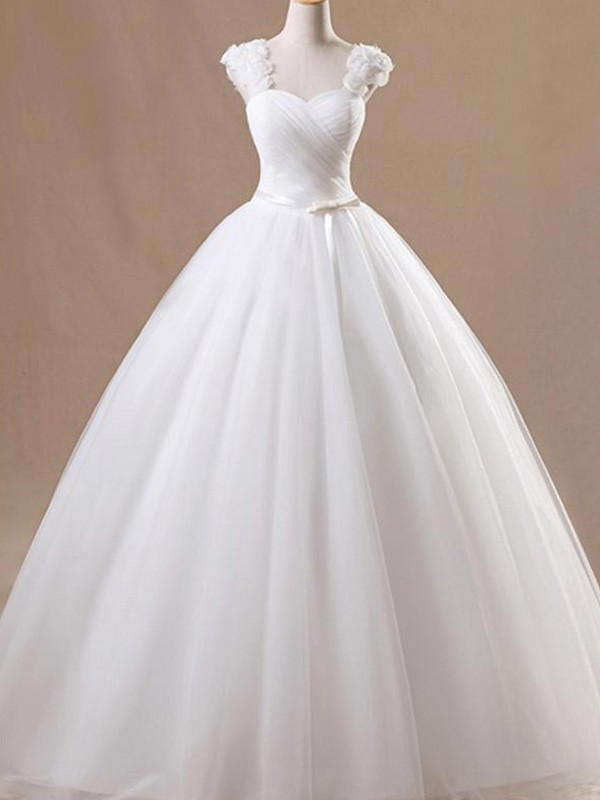 Ball Gown Ruffles Square Sleeveless Floor-Length Tulle Wedding Dresses