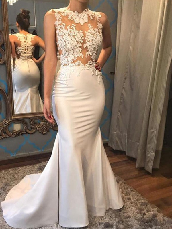 Trumpet/Mermaid Applique Scoop Sleeveless Court Train Satin Wedding Dresses