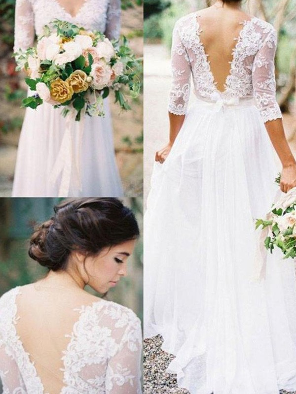 A-Line/Princess Applique V-neck 1/2 Sleeves Floor-Length Chiffon Wedding Dresses