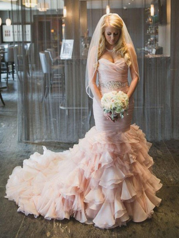 Trumpet/Mermaid Ruffles Sweetheart Sleeveless Court Train Organza Wedding Dresses