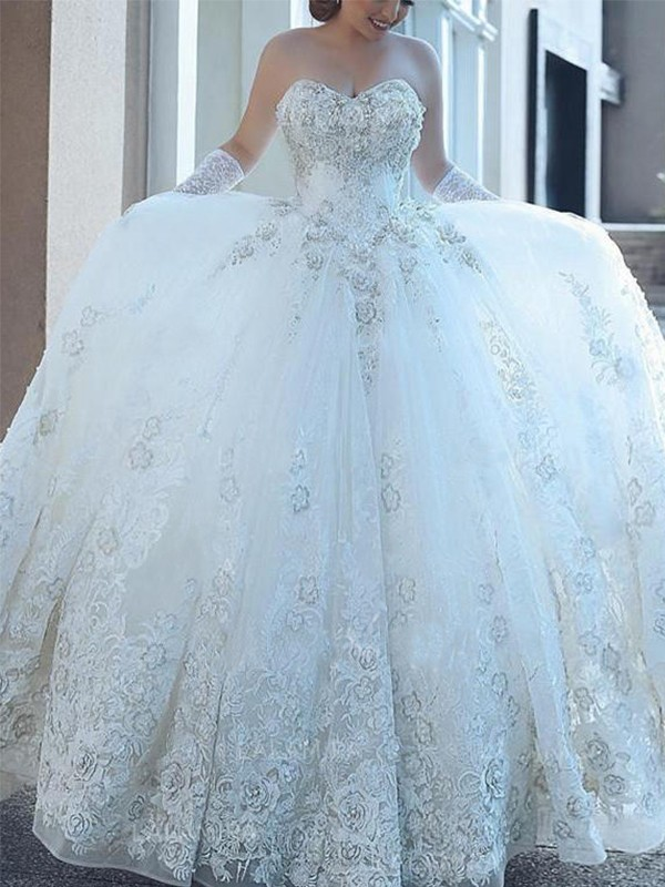Ball Gown Applique Sweetheart Sleeveless Cathedral Train Tulle Wedding Dresses