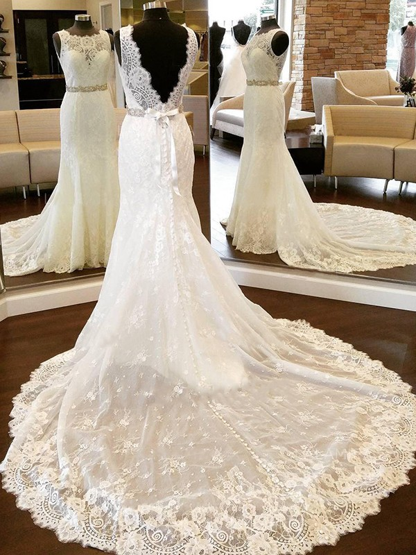 Sheath/Column Bowknot Scoop Sleeveless Chapel Train Lace Wedding Dresses