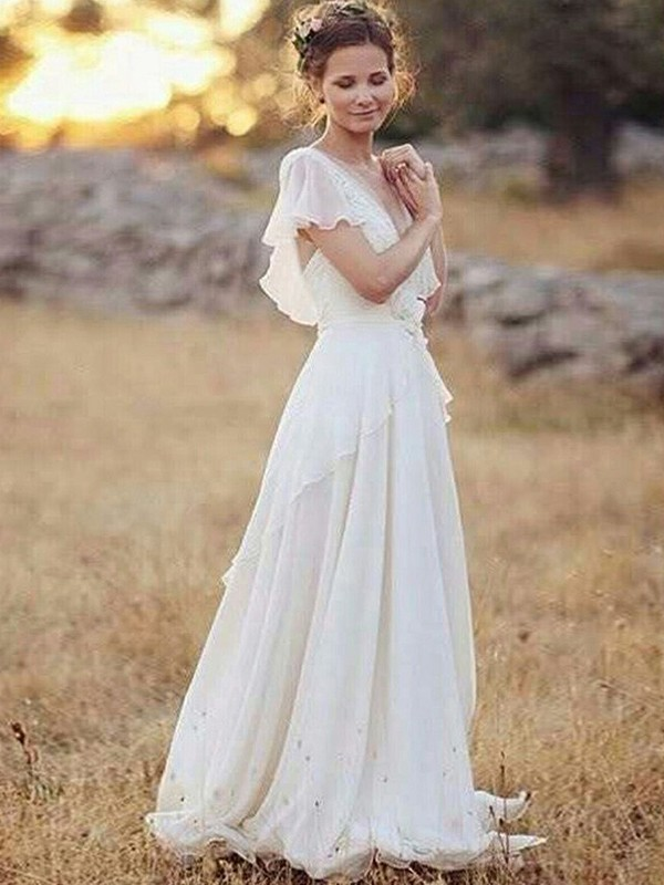 A-Line/Princess Ruched V-neck Short Sleeves Floor-Length Chiffon Wedding Dresses