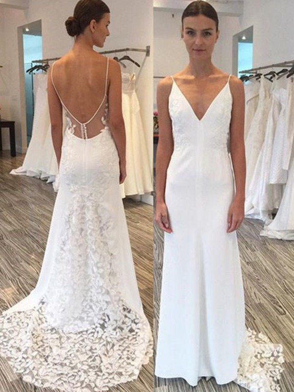 Sheath/Column Lace Spaghetti Straps Sleeveless Sweep/Brush Train Satin Wedding Dresses