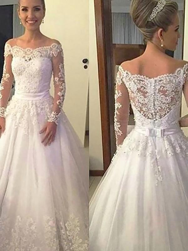 Ball Gown Applique Off-the-Shoulder Long Sleeves Court Train Tulle Wedding Dresses