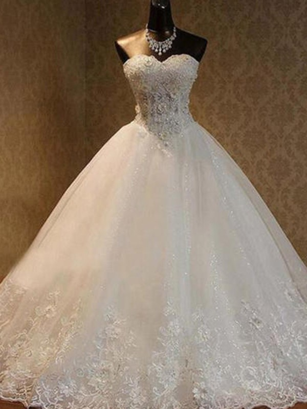 Ball Gown Beading Sweetheart Sleeveless Floor-Length Tulle Wedding Dresses