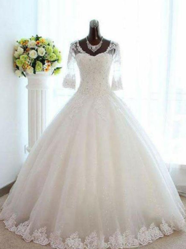 Ball Gown Beading Bateau 3/4 Sleeves Floor-Length Tulle Wedding Dresses