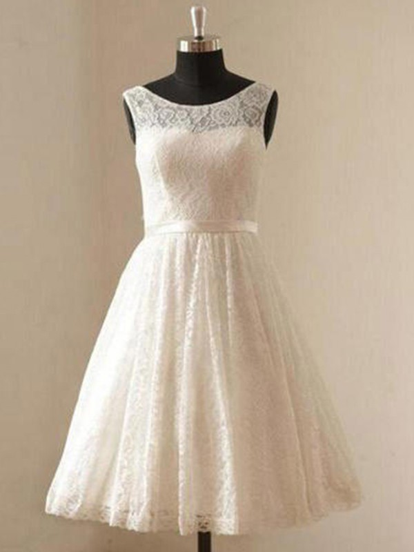 A-Line/Princess Sash/Ribbon/Belt Scoop Sleeveless Knee-Length Lace Wedding Dresses